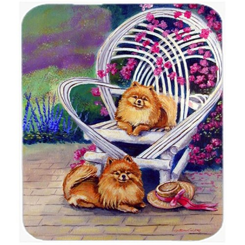 Carolines Treasures 7176MP 9.5 x 8 in. Red Pomeranians on the Patio Mouse Pad Hot Pad or Trivet