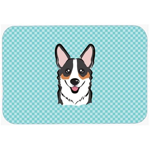 Carolines Treasures BB1193MP Checkerboard Blue Corgi Mouse Pad Hot Pad Or Trivet 7.75 x 9.25 In.