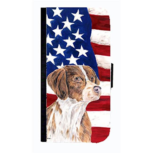 Carolines Treasures SC9112NBGALAXYS3 USA American Flag With Brittany Cell Phonebook Case Cover For Galaxy S3