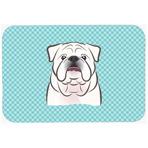 Carolines Treasures BB1158MP Checkerboard Blue White English Bulldog Mouse Pad Hot Pad Or Trivet 7.75 x 9.25 In.