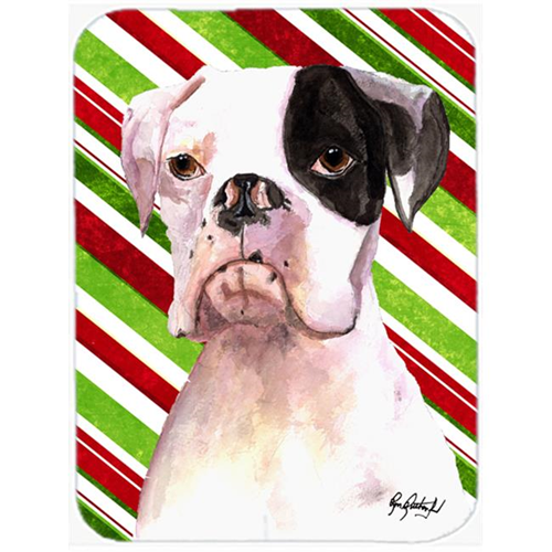 Carolines Treasures RDR3002MP 7.75 x 9.25 In. Cooper Candy Stripe Boxer Christmas Mouse Pad Hot Pad or Trivet
