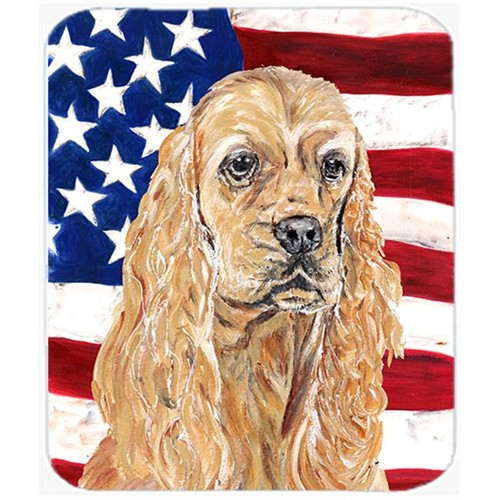 Carolines Treasures SC9514MP 7.75 x 9.25 In. Cocker Spaniel Buff USA American Flag Mouse Pad Hot Pad or Trivet