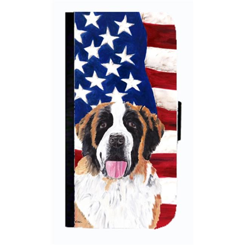 Carolines Treasures SC9027NBGALAXYS4 USA American Flag With Saint Bernard Cell Phonebook Case Cover For Galaxy 4S