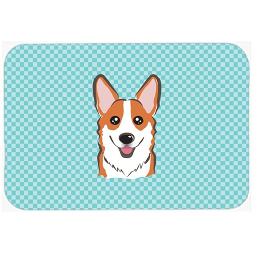Carolines Treasures BB1192MP Checkerboard Blue Corgi Mouse Pad Hot Pad Or Trivet 7.75 x 9.25 In.