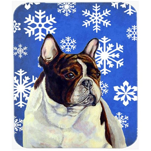 Carolines Treasures LH9292MP French Bulldog Winter Snowflakes Holiday Mouse Pad Hot Pad Or Trivet