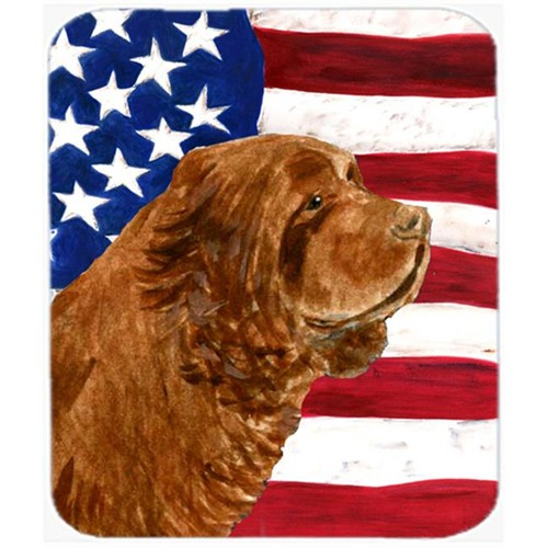 Carolines Treasures SS4037MP Usa American Flag With Sussex Spaniel Mouse Pad Hot Pad Or Trivet