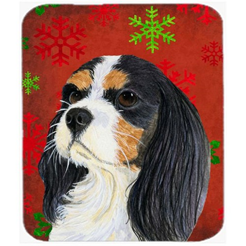 Carolines Treasures LH9324MP Cavalier Spaniel Red Green Snowflakes Christmas Mouse Pad Hot Pad Or Trivet - 7.75 x 9.25 In.
