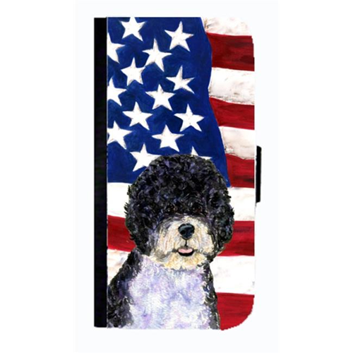 Carolines Treasures SS4053NBIP4 USA American Flag With Portuguese Water Dog Cell Phone Case Cover For Iphone 4 Or 4S
