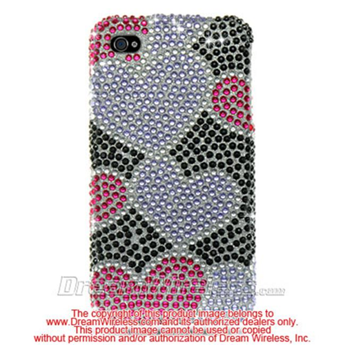 DreamWireless IP-FDIP4BKPPH iPhone 4S & iPhone 4 Compatible Hd Full Diamond Case - Black And Purple Heart
