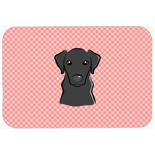 Carolines Treasures BB1235MP Checkerboard Pink Black Labrador Mouse Pad Hot Pad Or Trivet 7.75 x 9.25 In.