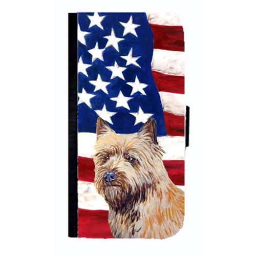 Carolines Treasures LH9020NBGALAXYS4 USA American Flag With Cairn Terrier Cell Phonebook Case Cover For Galaxy 4S