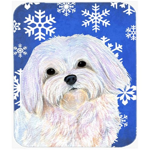 Carolines Treasures SS4620MP Maltese Winter Snowflakes Holiday Mouse Pad Hot Pad Or Trivet