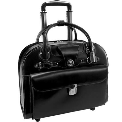 McKlein 96314 15.6 in. Edgebrook Leather Wheeled Ladies Laptop Case Brown - 17 x 6 x 13.5 in.