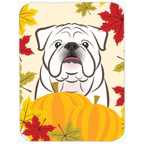 Carolines Treasures BB2026MP White English Bulldog Thanksgiving Mouse Pad Hot Pad or Trivet