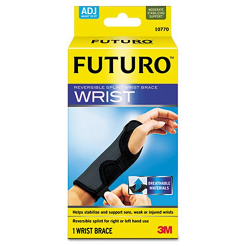 3M 10770EN Adjustable Reversible Splint Wrist Brace Fits Wrists 5.5 in.- 8.5 in. Black-Gray