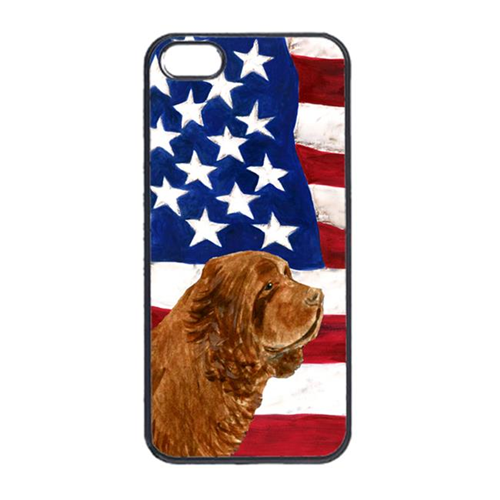 Carolines Treasures SS4037IP4 USA American Flag With Sussex Spaniel Iphone 4 Cover