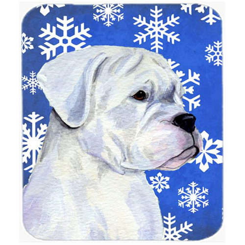 Carolines Treasures SS4647MP Boxer Winter Snowflakes Holiday Mouse Pad Hot Pad or Trivet