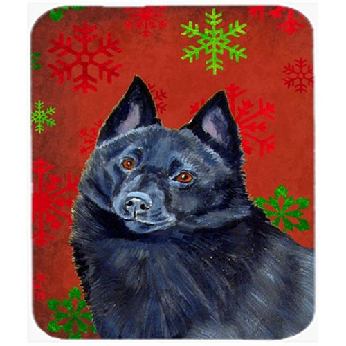 Carolines Treasures LH9339MP Schipperke Red And Green Snowflakes Christmas Mouse Pad Hot Pad Or Trivet - 7.75 x 9.25 In.
