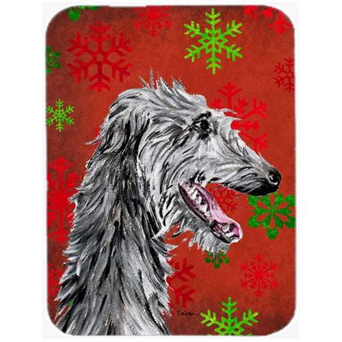Carolines Treasures SC9765MP Scottish Deerhound Red Snowflakes Holiday Mouse Pad Hot Pad Or Trivet 7.75 x 9.25 In.