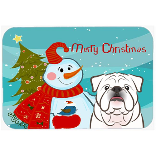 Carolines Treasures BB1840MP Snowman With White English Bulldog Mouse Pad Hot Pad & Trivet