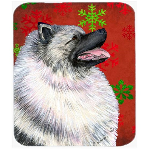 Carolines Treasures SS4695MP Keeshond Red and Green Snowflakes Christmas Mouse Pad Hot Pad or Trivet