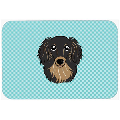 Carolines Treasures BB1151MP Checkerboard Blue Longhair Black And Tan Dachshund Mouse Pad Hot Pad Or Trivet 7.75 x 9.25 In.