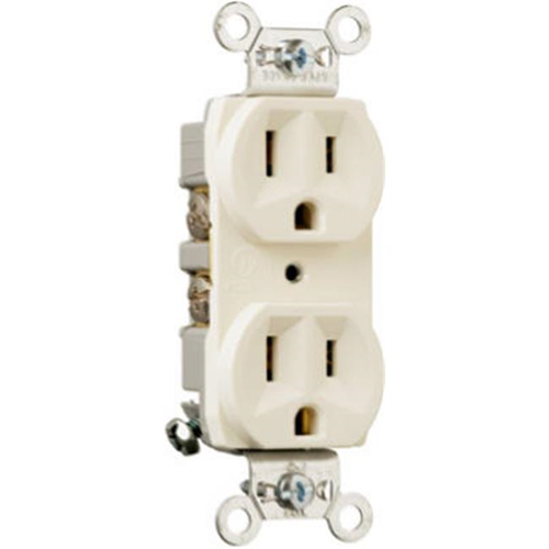 Pass & Seymour CRB5262LACC12 15A 2 Pole 3 Wire Grounding Heavy Duty Duplex Outlet Light Almond
