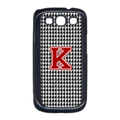 Carolines Treasures CJ1021-K-GALAXYSIII 3 x 5 in. Houndstooth Black Letter K Monogram Initial Cell Phone Cover for Galaxy S111