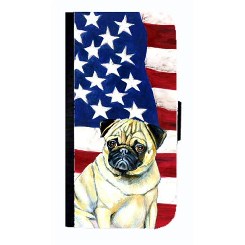Carolines Treasures LH9002NBGALAXYS4 USA American Flag With Pug Cell Phonebook Case Cover For Galaxy 4S