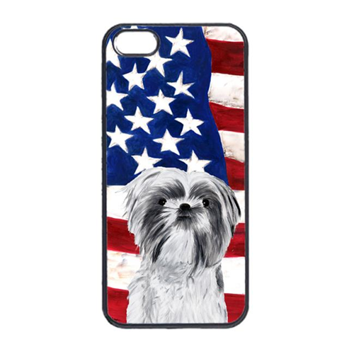Carolines Treasures SC9015IP4 USA American Flag With Shih Tzu Iphone 4 Cover
