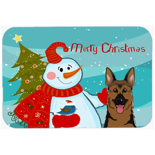 Carolines Treasures BB1831MP Snowman With German Shepherd Mouse Pad Hot Pad & Trivet