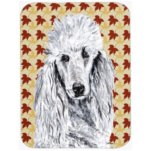 Carolines Treasures SC9679MP White Standard Poodle Fall Leaves Mouse Pad Hot Pad Or Trivet 7.75 x 9.25 In.