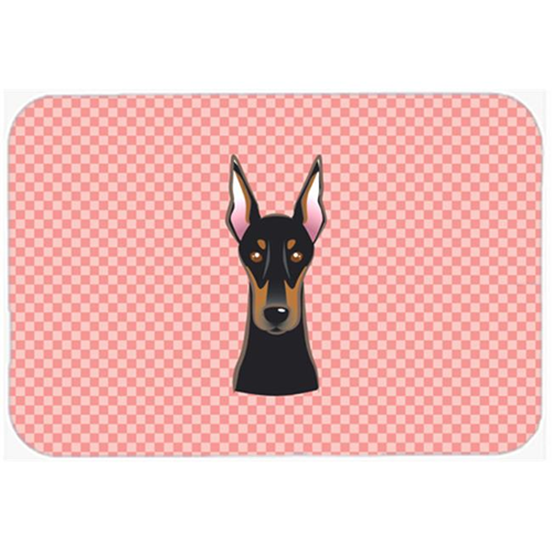 Carolines Treasures BB1245MP Checkerboard Pink Doberman Mouse Pad Hot Pad Or Trivet 7.75 x 9.25 In.