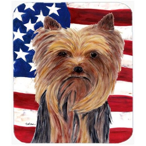 Carolines Treasures SC9013MP 9.5 x 8 in. USA American Flag with Yorkie Mouse Pad Hot Pad Or Trivet