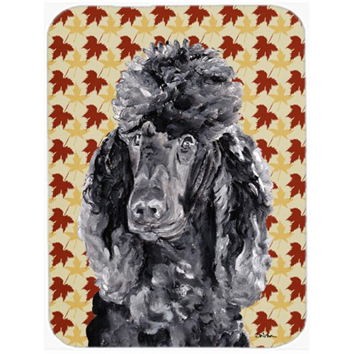 Carolines Treasures SC9674MP 7.75 x 9.25 In. Black Standard Poodle Fall Leaves Mouse Pad Hot Pad Or Trivet