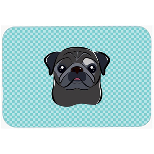 Carolines Treasures BB1201MP Checkerboard Blue Black Pug Mouse Pad Hot Pad Or Trivet 7.75 x 9.25 In.