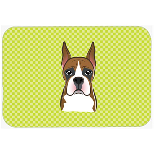 Carolines Treasures BB1285MP Checkerboard Lime Green Boxer Mouse Pad Hot Pad Or Trivet 7.75 x 9.25 In.