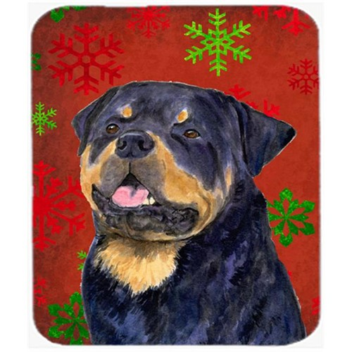 Carolines Treasures SS4731MP Rottweiler Red and Green Snowflakes Christmas Mouse Pad Hot Pad or Trivet