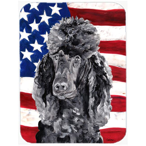 Carolines Treasures SC9626MP Black Standard Poodle With American Flag Usa Mouse Pad Hot Pad Or Trivet 7.75 x 9.25 In.