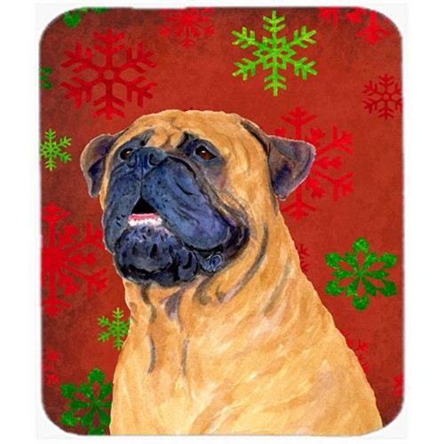 Carolines Treasures SS4727MP Mastiff Red and Green Snowflakes Holiday Christmas Mouse Pad Hot Pad or Trivet