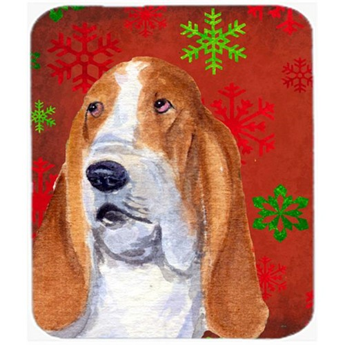 Carolines Treasures SS4735MP Basset Hound Red and Green Snowflakes Christmas Mouse Pad Hot Pad or Trivet