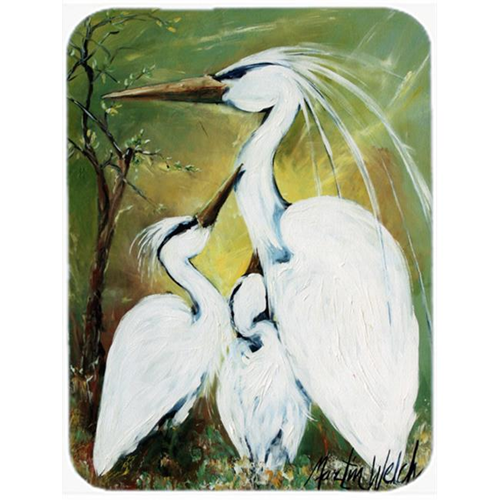 Carolines Treasures MW1186MP Blessing At Feeding Time Egret Family Mouse Pad Hot Pad & Trivet