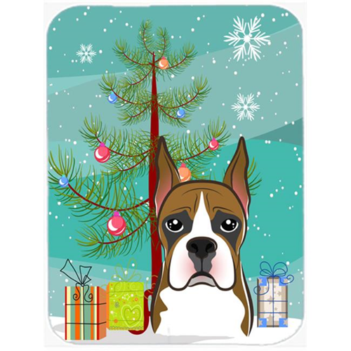 Carolines Treasures BB1595MP Christmas Tree And Boxer Mouse Pad Hot Pad & Trivet