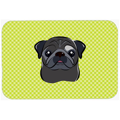 Carolines Treasures BB1325MP Checkerboard Lime Green Black Pug Mouse Pad Hot Pad Or Trivet 7.75 x 9.25 In.