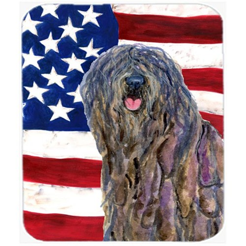 Carolines Treasures SS4008MP Usa American Flag With Bergamasco Sheepdog Mouse Pad Hot Pad Or Trivet
