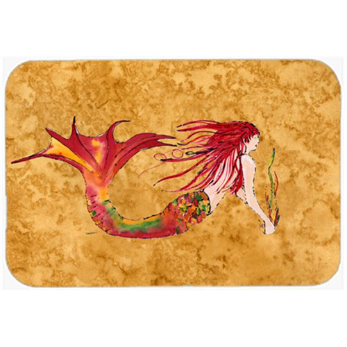 Carolines Treasures 8727MP Ginger Red Headed Mermaid On Gold Mouse Pad Hot Pad & Trivet