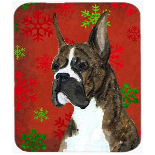 Carolines Treasures SS4715MP Boxer Red and Green Snowflakes Holiday Christmas Mouse Pad Hot Pad or Trivet
