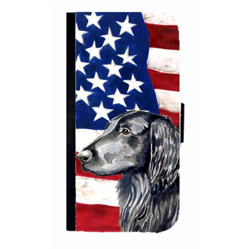 Carolines Treasures LH9021NBGALAXYS4 USA American Flag Flat Coated Retriever Cell Phonebook Cell Phone Cover For Galaxy 4S