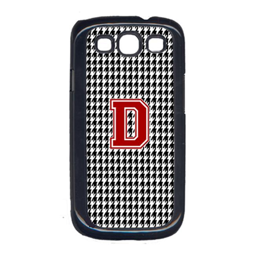 Carolines Treasures CJ1021-D-GALAXYSIII 3 x 5 in. Houndstooth Black Letter D Monogram Initial Cell Phone Cover for Galaxy S111
