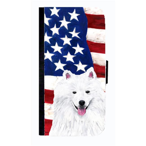 Carolines Treasures SC9023NBGALAXYS4 USA American Flag With American Eskimo Cell Phone Case Cover For Galaxy 4S